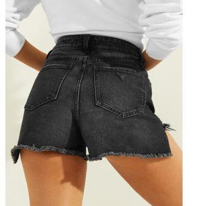 (NEW) GUESS X JLo High Rise Frayed Denim Shorts